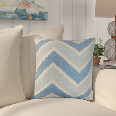 Simonton Zigzag Linen Throw Pillow Color: Blue