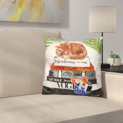 Tabby on Fashion Books Throw Pillow