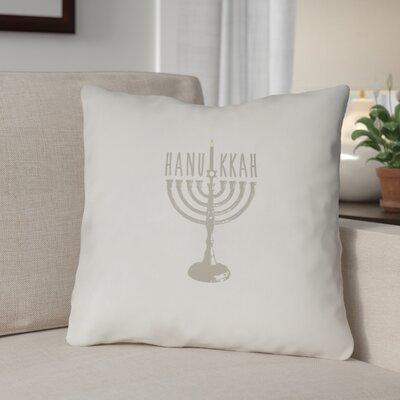 Hanukkah Indoor/Outdoor Throw Pillow Size: 18 H x 18 W x 4 D, Color: White/Beige
