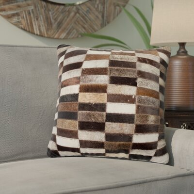 Graham Leather Throw Pillow Color: Black/Beige/Brown