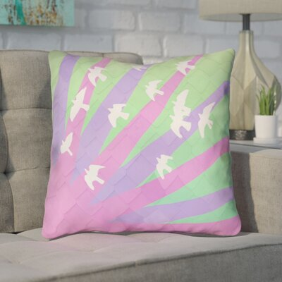 Enciso Birds and Sun Throw Pillow Color: Purple/Green Ombre, Size: 14 H x 14 W