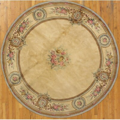 French Aubusson Hand-Knotted Wool Beige Area Rug