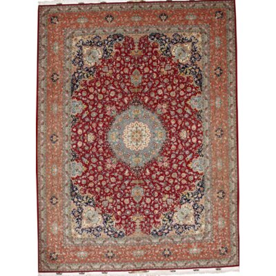 Persian Tabriz Hand-Knotted Wool Red Area Rug