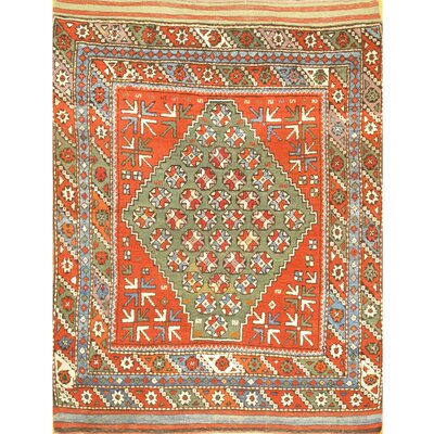 Turkish Kazak Hand-Knotted Wool Green/Orange Area Rug