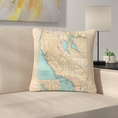 Catherine Holcombe So Cal Surf Map Outdoor Throw Pillow Size: 18