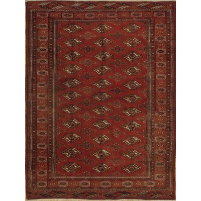 Turkmen Hand-Knotted Wool Red Area Rug