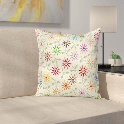 Floral 16 Square Pillow Cover with Zipper Size: 18 x 18