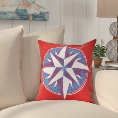Hancock Compass Geometric Print Throw Pillow Size: 26 H x 26 W, Color: Red