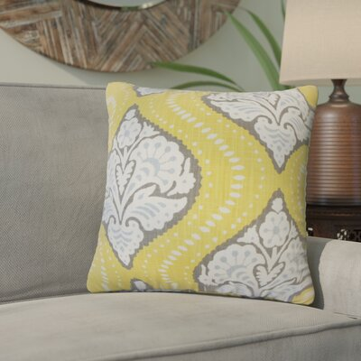 Nichols Hills Damask Down Filled 100% Cotton Throw Pillow Size: 18 x 18, Color: Dandelion