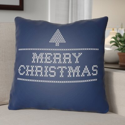 Merry Christmas III Indoor/Outdoor Throw Pillow Size: 18 H x 18 W x 4 D, Color: Blue