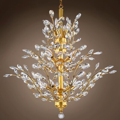 Mendez 10-Light Crystal Chandelier Bulb Type: LED, Crystal Grade: European, Crystal Color: Clear