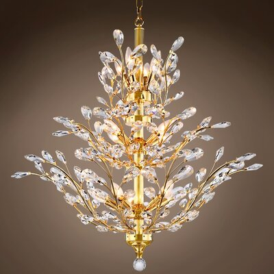 Mendieta 13-Light Crystal Chandelier Bulb Type: Incandescent, Crystal Grade: Swarovski, Crystal Color: Clear