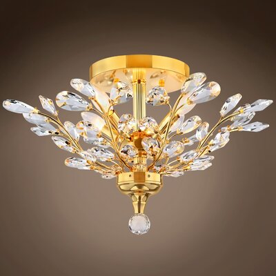 Mendonca 4-Light Semi Flush Mount Bulb Type: LED, Crystal Grade: European, Crystal Color: Clear