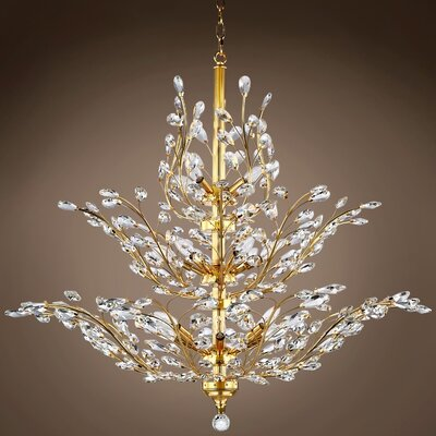 Mendiola 18-Light Crystal Chandelier Bulb Type: LED, Crystal Grade: Asfour, Crystal Color: Clear