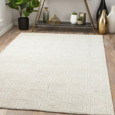 Heavner Hand-Tufted Whisper White/Oatmeal Area Rug Rug Size: Rectangle 5 x 8