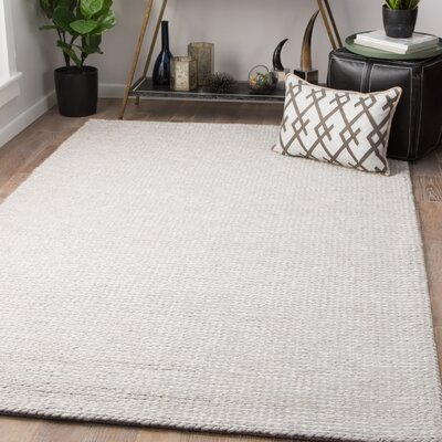 Maisonet Hand-Woven Light Gray Area Rug Rug Size: Rectangle 9 x 12