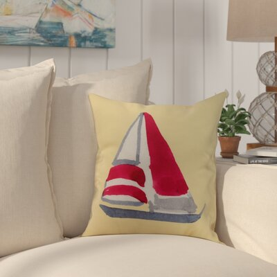 Crider Sail Away Print Indoor/Outdoor Throw Pillow Color: Yellow, Size: 16 x 16