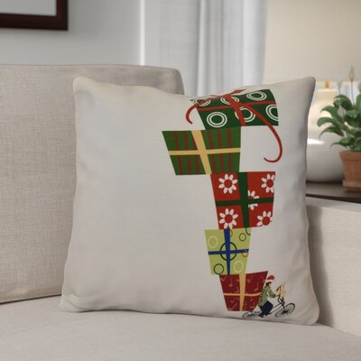 Christmas Presents Print Outdoor Throw Pillow Size: 20 H x 20 W, Color: White