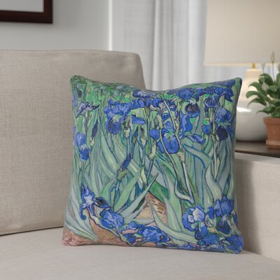 Morley 16 x 16 Irises in Blue Outdoor Pillows & Cushions UV Properties + Waterproof and Mildew Proof Size: 18 x 18