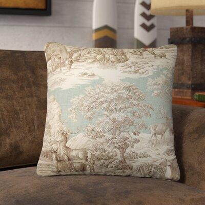 Ashcraft Toile Front Cotton Throw Pillow Color: Aqua Front, Size: 18 x 18