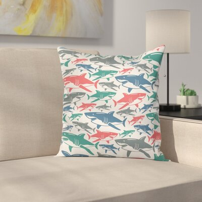 Fish Shark Patterns Square Pillow Cover Size: 18