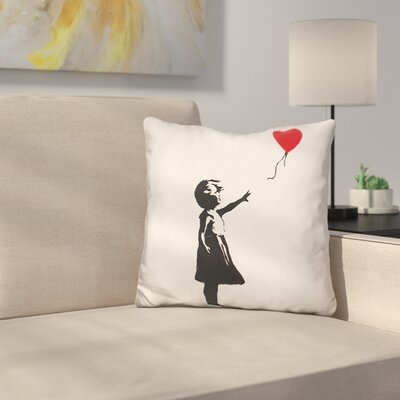 Girl with Balloon Throw Pillow