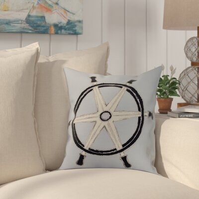 Crider Ship Wheel Geometric Print Indoor/Outdoor Throw Pillow Color: Blue, Size: 18 x 18