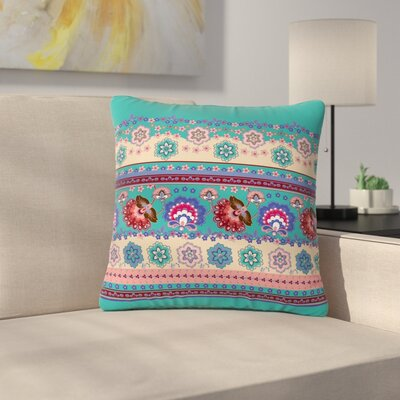 Victoria Krupp Folkloric Flowers Border Floral Outdoor Throw Pillow Size: 16 H x 16 W x 5 D