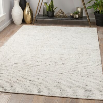 Hollman Hand-Woven Turtledove/Marshmallow Area Rug Rug Size: Rectangle 5 x 8