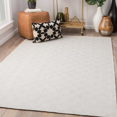 Criss Hand-Woven Ash/Bright White Area Rug Rug Size: Rectangle 5 x 8