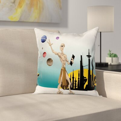 Cartoon Alien Planets Galaxy Square Pillow Cover Size: 24 x 24