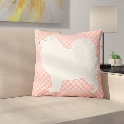 Samoyed Square Indoor/Outdoor Throw Pillow Size: 14 H x 14 W x 3 D, Color: Pink