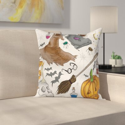 Halloween Decor Pumpkin Skull Square Pillow Cover Size: 16 x 16