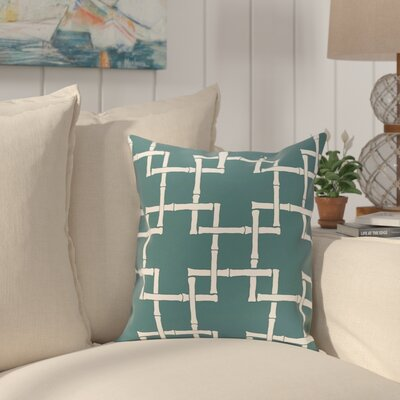 Connelly Bamboo Geometric Outdoor Throw Pillow Size: 16 H x 16 W, Color: Teal