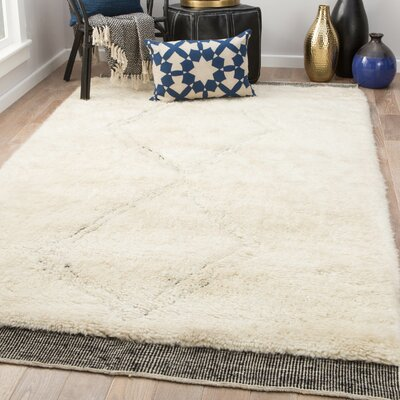 Majewski Hand-Knotted Wool Angora/Jet Black Area Rug Rug Size: Rectangle 9 x 13