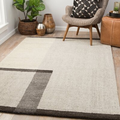 Sarratt Hand-Tufted Wool Oatmeal/Jet Black Area Rug Rug Size: Rectangle 5 x 8