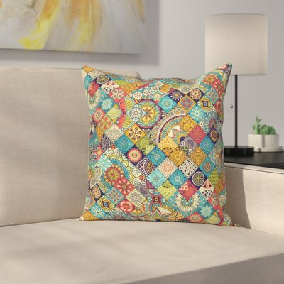 Bohemian Checkered Indian Folk Square Pillow Cover Size: 24 x 24