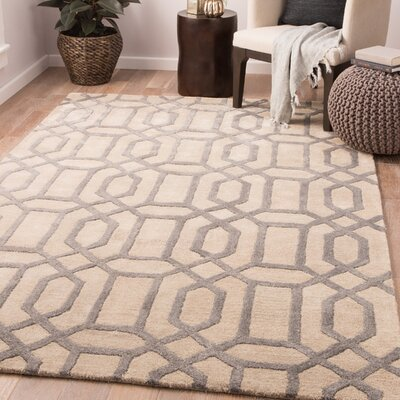 Hebb Hand-Tufted Feather Gray/Tan Area Rug Rug Size: Rectangle 9 x 13