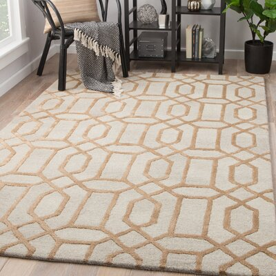 Hebb Hand-Tufted Cr�me Brulee/Steel Gray Area Rug Rug Size: Rectangle 5 x 8