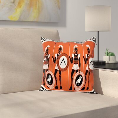 Historical Warrior Square Cushion Pillow Cover Size: 18 x 18