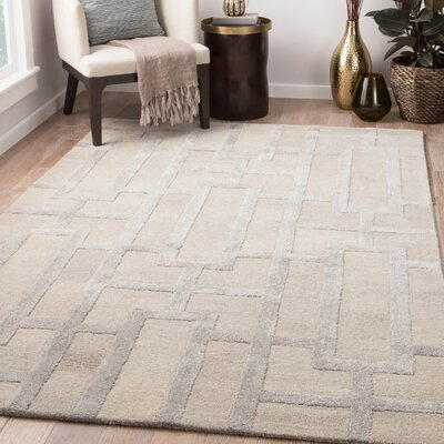 Hazlett Hand-Tufted Feather Gray & Neutral Gray Area Rug Rug Size: Rectangle 8 x 11