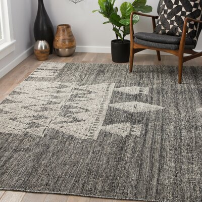 Parham Hand-Knotted Wool Jet Black/Parchment Area Rug Rug Size: Rectangle 9 x 12