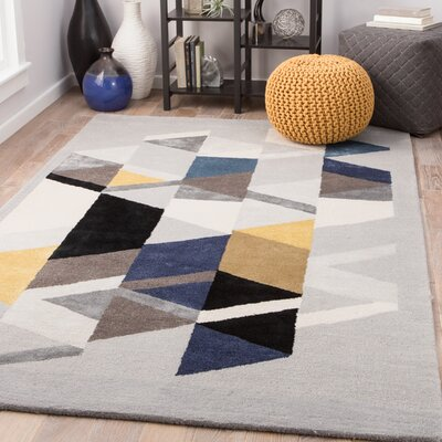 Cephas Hand-Tufted Birch/Mustard Gold Area Rug Rug Size: Rectangle 5 x 8