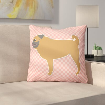 Pug Indoor/Outdoor Throw Pillow Size: 18 H x 18 W x 3 D, Color: Pink