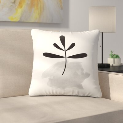 Pink Leaf Throw Pillow Size: 16 x 16, Color: Gray