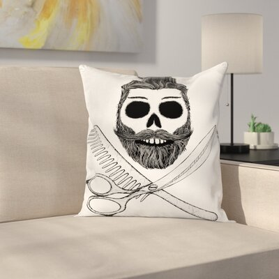 Hipster Skull Hairstyle Square Cushion Pillow Cover Size: 16 x 16