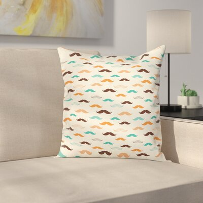 Retro Mustache Pattern Square Cushion Pillow Cover Size: 16 x 16
