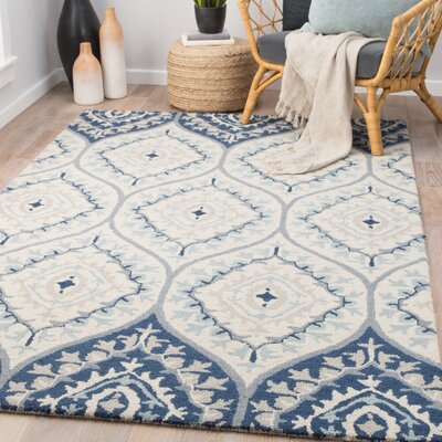 Pariaman Hand-Tufted Wool Turtledove/Majolica Blue Area Rug Rug Size: Rectangle 2 x 3