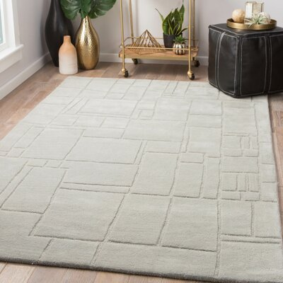 Schmidt Hand-Tufted Wool Light Gray Area Rug Rug Size: Rectangle 9 x 12