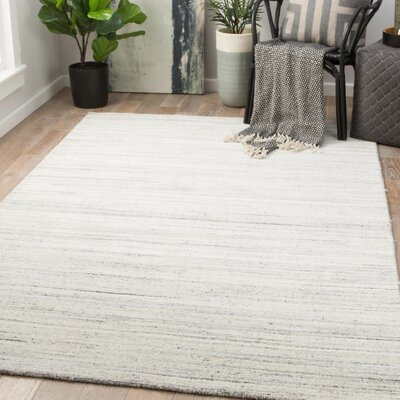 Schmit Hand-Woven Wool Blanc De Blanc/Smoked Pearl Area Rug Rug Size: Rectangle 5 x 8